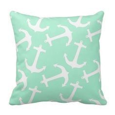 Magic Mint and White Anchors Throw Pillows