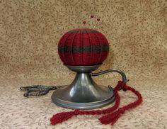 Primitive 1800s Inspired Woven Wool Pinball Pinkeep Make-Do Folk Art Pincushion