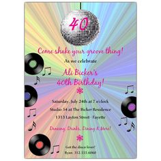 Get your guests excited to dance with this holiday dance party invitationDisco party invitation cards creative vector Free vector in Holiday Party Invitations, Unique Invitations, Invitation Cards, Birthday Invitations, Invites, 70s Party, Disco Party, Disco Ball, Ball Birthday