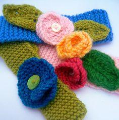 Knitted flower headbands