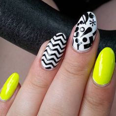 """#typographynails ! $*""""? + .... Colors used: @lacolorscosmetics #flicker @sally_hansen white and black I used rub on letters for the middle nail and #whatsupnails nail vinyls for the chevron nail. I sealed it all with @orlynails #allinonetopcoat."""""""