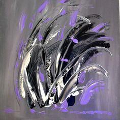 """Tableau  moderne abstrait """"tourmente"""" - tableau contemporain mauve - toile format 38 x 45"""