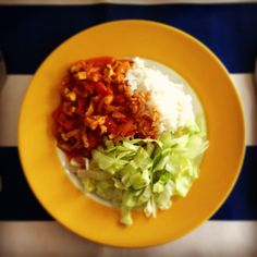 #vegan curry with rice and salad. Delicious