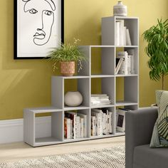 Symple Stuff The Marianna Bookcase offers plenty of storage space for books and decorative items in its ten compartments. Room Divider Bookcase, 4 Panel Room Divider, Ladder Bookcase, Bookshelves, Mystery Room, Indian Interiors, Home Office Furniture, Office Interiors, Home Accents