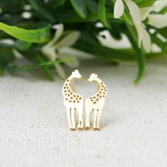 Gold/ Silver Loving Giraffes stud Earrings by bkandjio on Etsy, $11.80