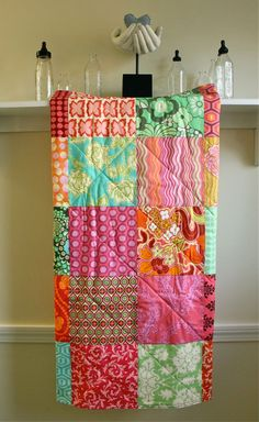 LOVE this bright colors in this quilt ~ (Baby Quilt - Modern Blanket for Baby Girl in Sunny Summer Colors  Pink, Turquoise, Orange, Yellow, Green)