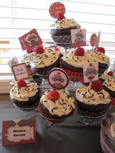 Sock Monkey Cupcakes, I rather have cherries than raspberries though.. super cute!