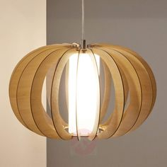Lampshade: Curved maple wooden slats with white cylindrical glass inner. Material Metal, wood, glass Dimensions:Ø Height Also available: Ø and Ø Wood Pendant Light, Pendant Lighting, Ceiling Lamp, Ceiling Lights, Luminaire Mural, Wooden Slats, Wood Ceilings, Wood Glass, Wood Colors