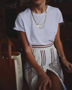 $50 - $100 Cute Cream Red And Blue Striped High Waisted Slit Maxi Skirt And Plain White Casual Tee With Gold Minimalist Simple Chain Necklaces Jewellery Accessory Spring Summer Fashion Trends Tumblr