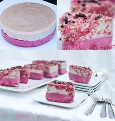 Kinda perfect for Valentine's <3. raw vegan peppermint chesecake  pink sprinkles peppermint cream cake heaven FROM purelytwins