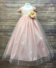 Pink & Silver Flower Sash Silk Dress - Toddler & Girls