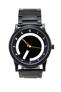 Black watch with yellow hands