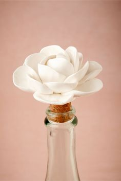 "Cape Jasmine Bottle Stopper (BHLDN) (stoneware, cork; handmade; hand wash; 3"" L x 3"" W)"