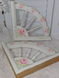 TWO HAND PAINTED ROSE CORNER BRACKETS  / CORBELS  chic shabby vintage cottage    AVAIL ON EBAY   seller id;  sunny-sommers ARTIST  D. SOMMERS