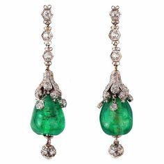 Luscious emerald green....Cabochon Emerald and Diamond Art Deco Pendant Earrings by nadine