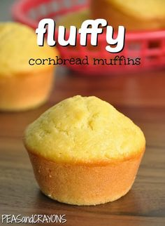 Fluffy Bakery-Style Cornbread Muffins Gradually subbing whole wheat flour for the all-purpose white.one of the best recipes I've come across so far! Muffin Recipes, Breakfast Recipes, Dessert Recipes, Desserts, Breakfast Muffins, Tortillas, Muffin Bread, Saveur, Sweet Cornbread Muffins