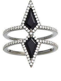 Eva Fehren Diamond & Onyx Double Ezzat Ring