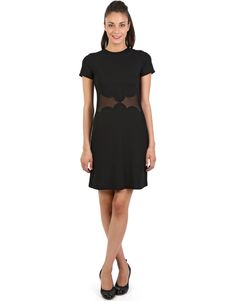Black short sleeve shift ponte mini dress with mesh details.