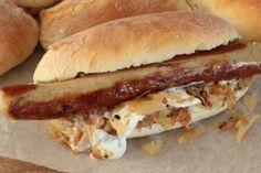 Best hot dog buns with bratwurst and beer braised sauerkraut