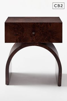 Burlwood takes a rich turn in this nightstand by Mermelada Estudio. Single drawer sits atop a curved base, all in dark burlwood veneer and finished with a simple knob. Learn about Mermelada Estudio on our blog. Bedroom Furniture, Home Furniture, Eclectic Style, Engineered Wood, Modern Bedroom, Knob, Nightstand, Drawer