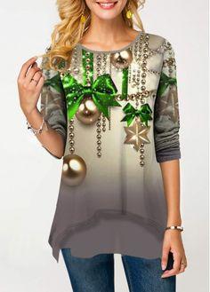 Shop Womens Fashion Tops, Blouses, T Shirts, Knitwear Online Christmas Shirts, Christmas Print, Cheap Christmas, Christmas Sweaters, Neck T Shirt, Knitwear, Fashion Dresses, My Style, Long Sleeve