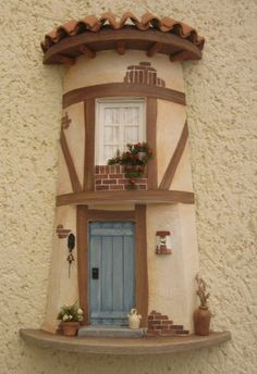 Clay Houses, Ceramic Houses, Miniature Houses, Clay Fairy House, Fairy Houses, Pottery Houses, Doll House Plans, Tile Crafts, Clay Tiles