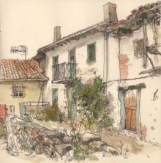 Urban sketch. Callejón en Guardo, España. Acuarela y rotulador de tinta. ©Adolfo Arranz.