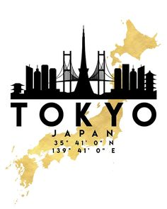 TOKYO JAPAN SILHOUETTE SKYLINE MAP ART -  The beautiful silhouette skyline of Tokyo and the great map of Japan in gold, with the exact coordinates of Tokyo make up this amazing art piece. A great gift for anybody that has love for this city. Contact me: digital@deificusart.com  tokyo japan downtown silhouette skyline map coordinates souvenir gold deificus art