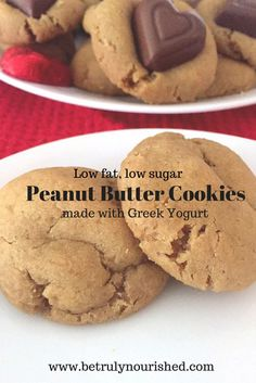 Peanut Butter Cookies made with Greek Yogurt.  Low fat, low sugar, deliciously moist and tasty! #peanutbutter #betrulynourished