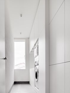 Detached House is a minimalist residence located in Bad Wörishofen, Germany, designed by CAMA. Laundry In Bathroom, Laundry Area, Laundry Rooms, Laundry Storage, Interior Decorating, Interior Design, Wardrobe Closet, Storage Design, House 2