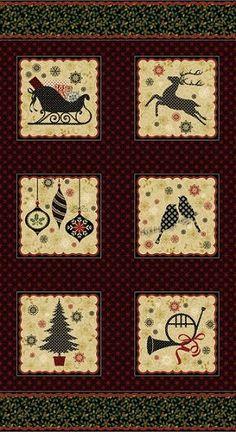 Ornamental Splendor by Allison Hayward for Benartex - Ornamental Splendor - Panel/Multi Christmas Scrapbook Paper, Christmas Paper, Cotton Quilting Fabric, Fabric Online, Fabric Panels, Floral Fabric, Bohemian Rug, Burgundy, Quilts