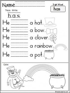 Free St. Patrick's Day sight word reading and writing worksheet for the word 'has'.  Terrific March activity for Kindergarten.