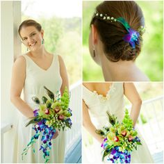 Brides Bouquet and Hair Piece with Peacock Feathers
