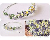 Camomile and Lavender headwreath Bridal wreath Floral tiara, Flower crown with camomiles Daisy headwreath Rustic Boho floral tiara