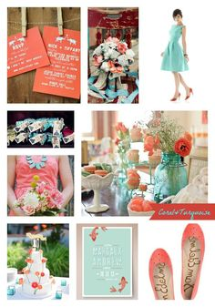 Wedding colors, but with more brown. (Coral and Turquoise Wedding Palette)