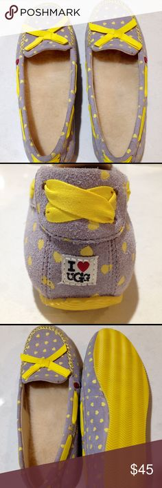 New UGG Slippers - grey suede with yellow hearts NWOT UGG fur lined slippers. Grey suede with cute yellow hearts. Never worn; no box. Size 7. Price is firm. UGG Shoes Moccasins