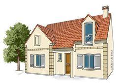 Modèle PC-34  Pavillon comprenant cuisine, séjour, salle de bains, WC et 1 chambre au rez-de-chaussée. 2 chambres à l'étage.  Surface Habitable : 77,28m²