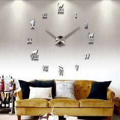 2017 new hot sale home decorations large wall clock Acrylic Living Room Quartz Needle watch clocks modern design