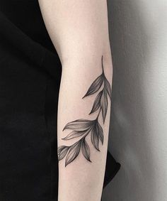 Perfect Black Leaf Arm Tattoos for Girls
