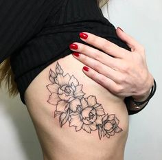 Peony Tattoo Under Boob Tattoo