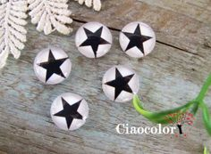 Star  8 x  Handmade Photo Glass Cabs Cabochons 12mm  by ciaocolor, $2.40