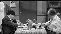 Moe Howard, Larry Fine | Wham-Bam-Slam! (1955), a Three Stooges short produced and directed by Jules White; distributed by Columbia Pictures | Tags, breakfast, pancakes, hotcakes