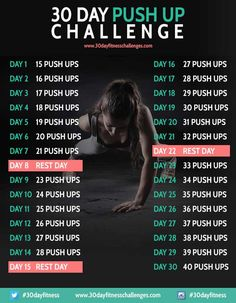 30 Day Push Up Fitness Challenge Chart