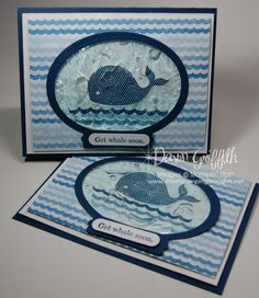 """How fun is the gel filled window on this get """"whale"""" card ... LOVE IT!  http://dawnsstampingthoughts.typepad.com/dawns_stampin_studio/"""