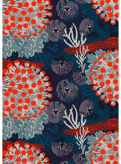Underwater Landscapes. The large-scale Merivuokko print features colorful sea creatures in an otherworldly coral reef. Kustaa Saksi designed the energetic Merivuokko print and the 100% linen fabric has a slightly textured surface. Merivuokko makes a dynamic wall hanging, tablecloth or curtain set. Garments are breathable; try making a boxy tunic or pleated skirt.