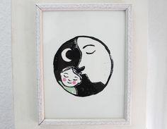 Kinderzimmer Kunst Gute Nacht Kuss Linoldruck von hebbedinge auf DaWanda.com