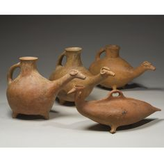 Four Pottery Vessels in Animal Form, Northwestern Iran, circa half of the millennium B. Ceramic Teapots, Ceramic Pottery, Ceramic Art, Teapots Unique, Greek Pottery, Tile Crafts, Modern Artwork, Pottery Designs, Indigenous Art