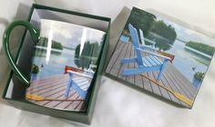 Lakeside Retreat Coffee Mug Cup Artist David Ward Lang 2012 Perfect Timing 14 Oz