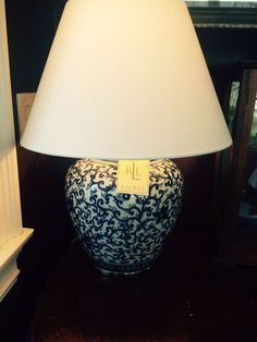 Ralph Lauren LARGE NWT Mandarin Blue And White Floral Temple Jar Table Lamp