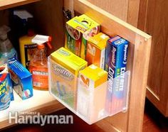 Keep frequently used stuff accessible: Cut a plastic storage tub in half with a utility knife and screw it to the inside of the cabinet door through the plastic lip at the top of the tub. Keep frequently used items right on the door! http://www.familyhandyman.com/storage-organization/easy-storage-ideas/view-all